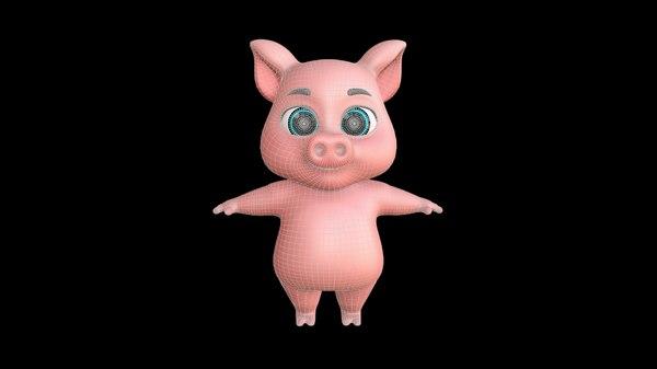 3D pig animal cartoons