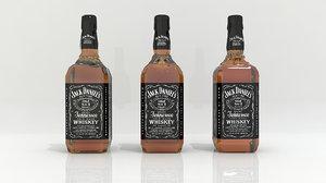 jack daniels alcohol bottle 3D model