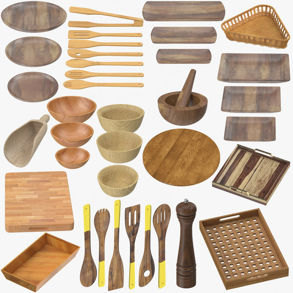 wooden kitchenware wood model