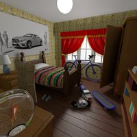 3D cartoon boy s bedroom