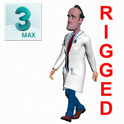3D doctor toon male man model