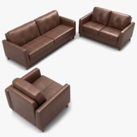 leather sofa set 3D model