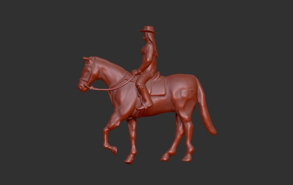 posed horse rider 3D model