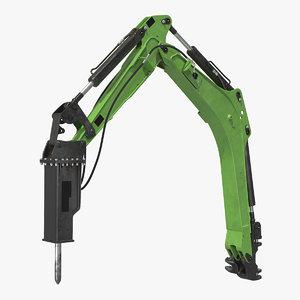 breaker hammer rigged 3D model