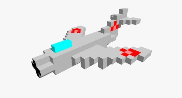 pixelated mig-17 3D model