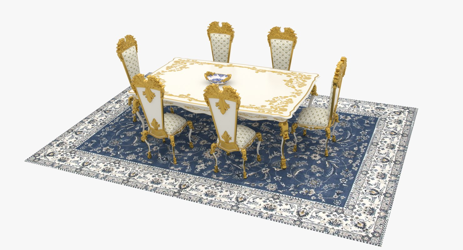 victorian table chair set 3D model