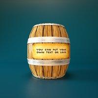 3D model cartoon wooden barrel