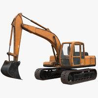 rigged excavator midpoly model
