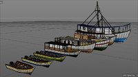 caribbean fishing boats set model