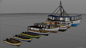 caribbean fishing boats set model