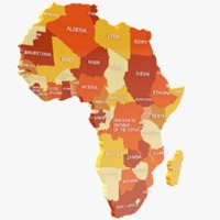 3D africa colored modeled