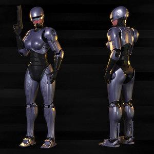 3D model robocop woman