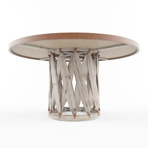 mexican equipal table wood 3D model