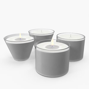 3D simple candles lit unlit