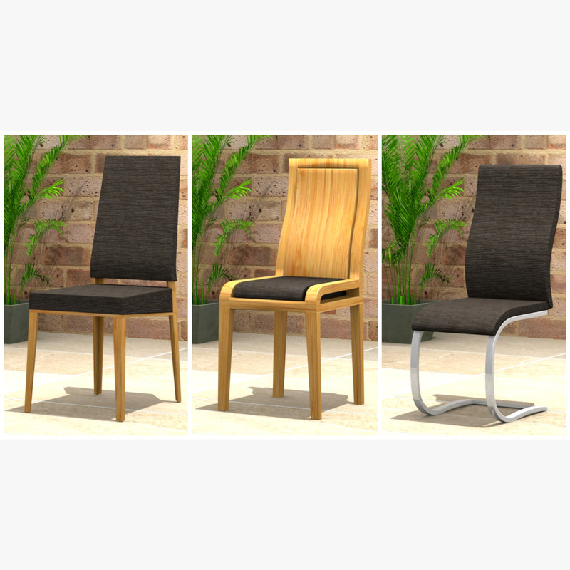 set dining chairs 3D model