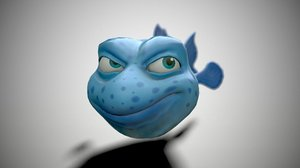 fish cartoon blue 3D model