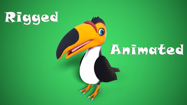 3D cartoon toucan toon model
