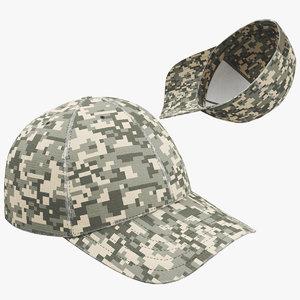 3D baseball cap khaki 01 model