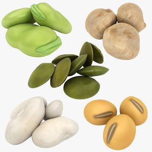 3D beans kidney lentils model