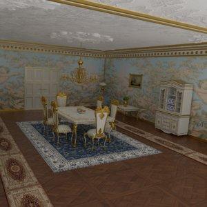 victorian dining room 3D model