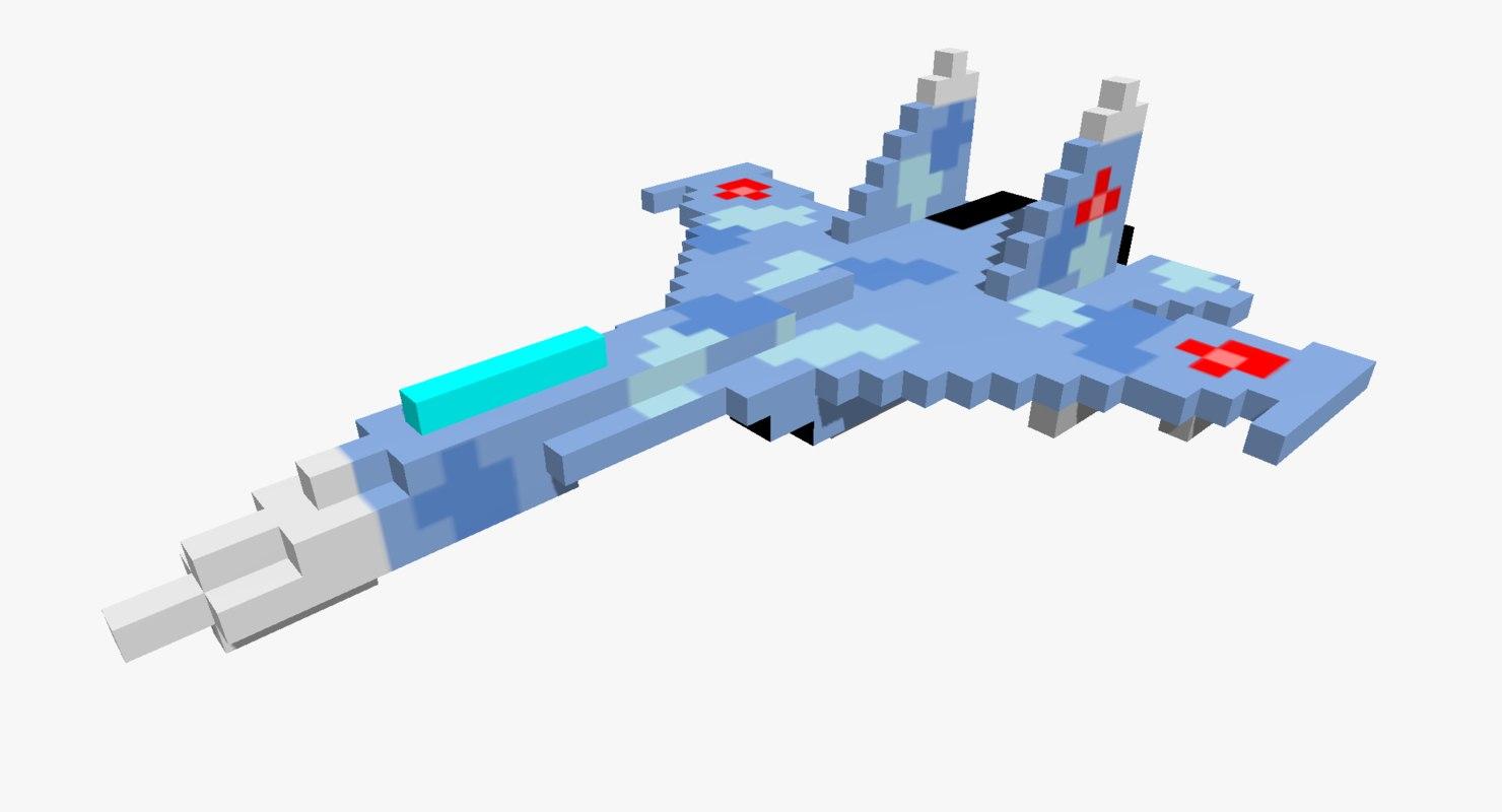 3D pixelated sukhoi su-27 jet fighter