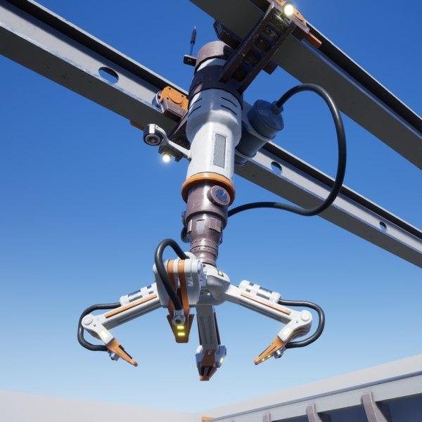 sci-fi industrial robotic crane 3D model