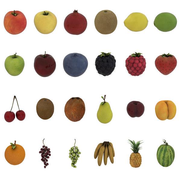 3D model pack 24 fruits -