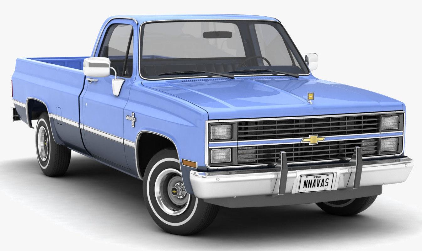Chevrolet Truck Models >> Chevrolet C10 Silverado 1983 Model Turbosquid 1310781