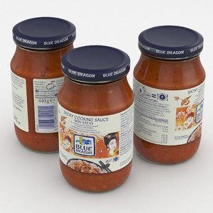 3D food jar sauce
