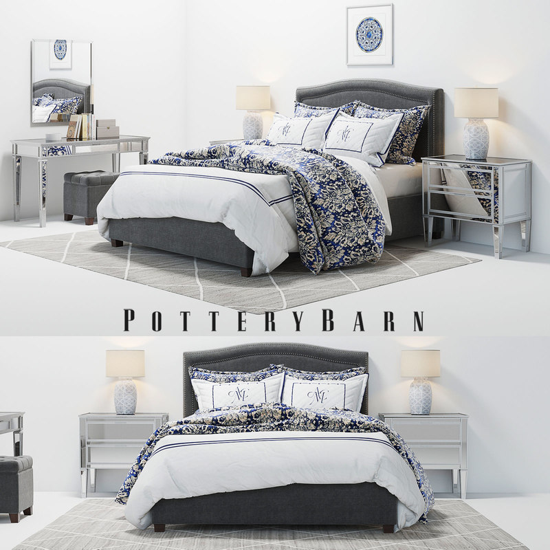 bed pottery barn tamsen 3D model