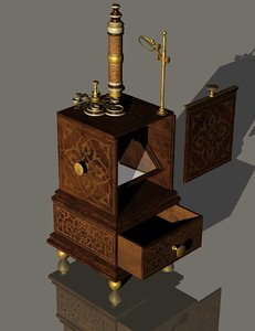 3D antique 18th century microscope