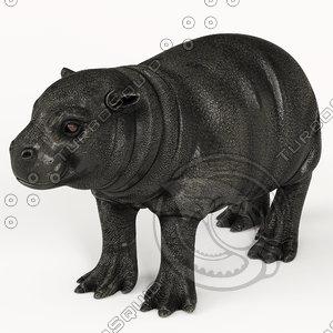 3D baby hippo model