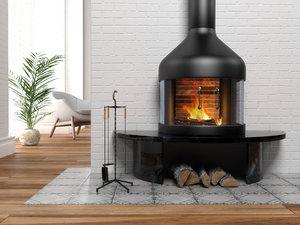 modern fireplace 3D