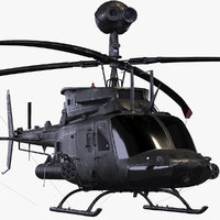3D bell oh-58d kiowa helicopter model