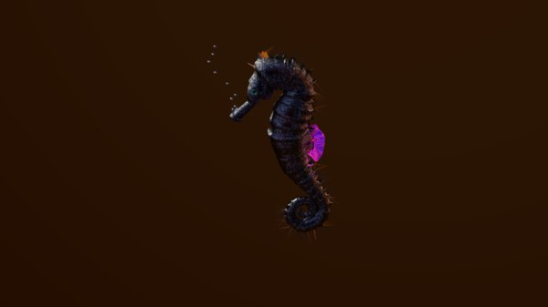 3D seahorse transparent model