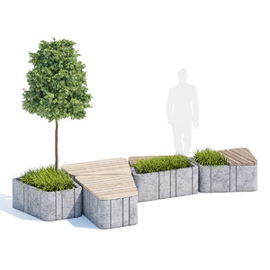 timber seats benches street furniture 3D model