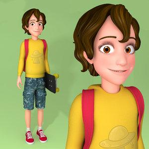 3D model cartoon teenager character rigging
