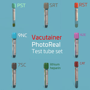 3D vacutainer test tubes