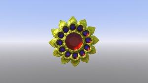 3D model golden brooch