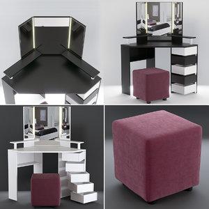 3D model corner dressing table pouf