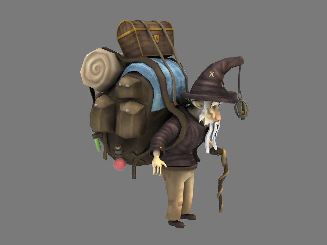 3D model old traveler