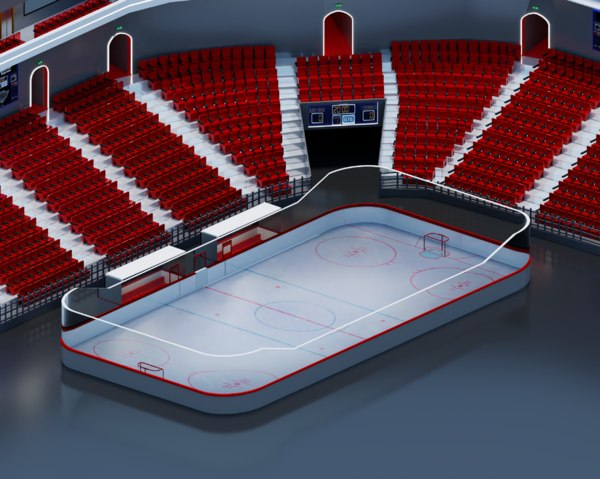 3D hockey arena isometric model