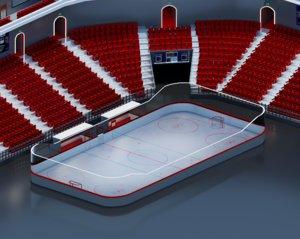 3D hockey arena isometric model