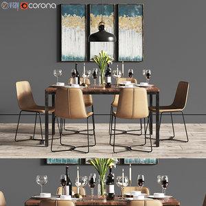 3D dinning set dining chair model