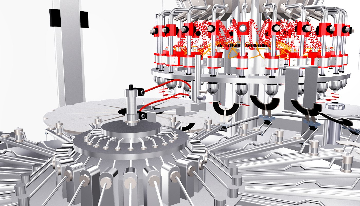 gravity filling machine mineral water 3D