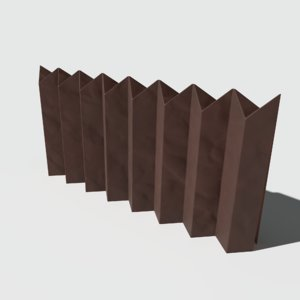 origami fence 3D model