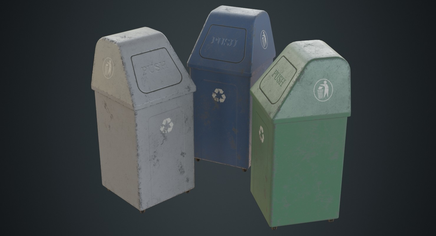 3D dustbin 5b model
