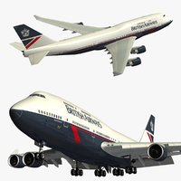 3D boeing 747 british airways