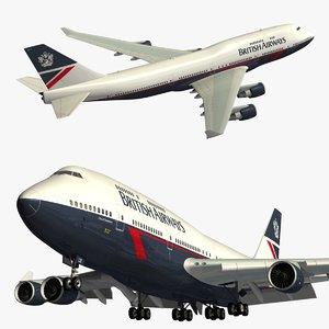 3D boeing 747 british airways
