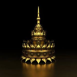 3D gold crown